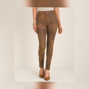 ⚡NEW Chico's Faux Suede Slim Fir Pants Brown Weathered Luggage Look size 10